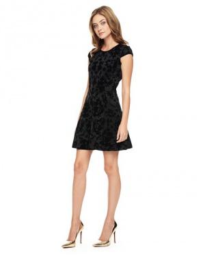 Juicy Couture чёрное платье из тонкой скубы с рисунком из бархата, S
