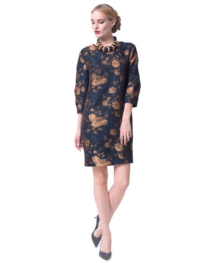 """Прямое платье с принтом,фирма """"Lo"""",черное с золотым принтом, размер: 48-50."""