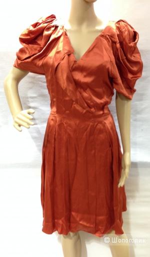 Шикарное платье от кутюр Gianfranco Ferre сложного кроя из натурального шелка р.44