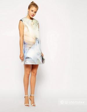 ASOS premium свободное платье из неопрена принт под мрамор uk10