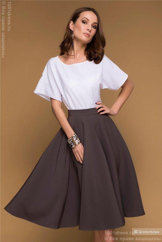 Юбка-солнце цвета мокко длины миди,размер M, с сайта 1001 dress.