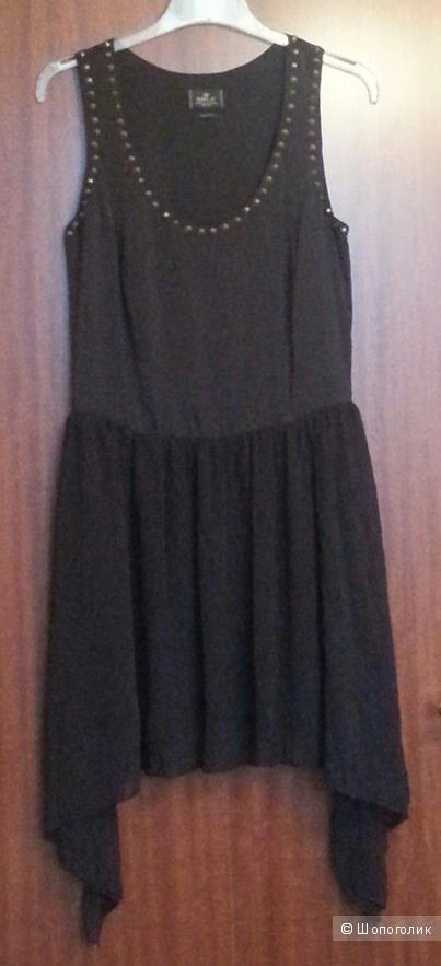 Replay чёрное платье с заклёпками и шифоновой юбкой, р. M