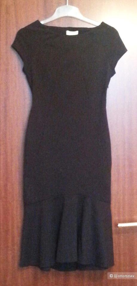 Monsoon чёрное облегающее платье с воланом Tamara, UK6