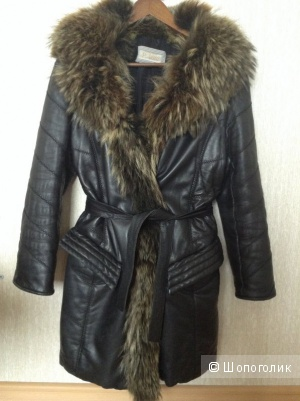Кожаное зимнее пальто  40-44