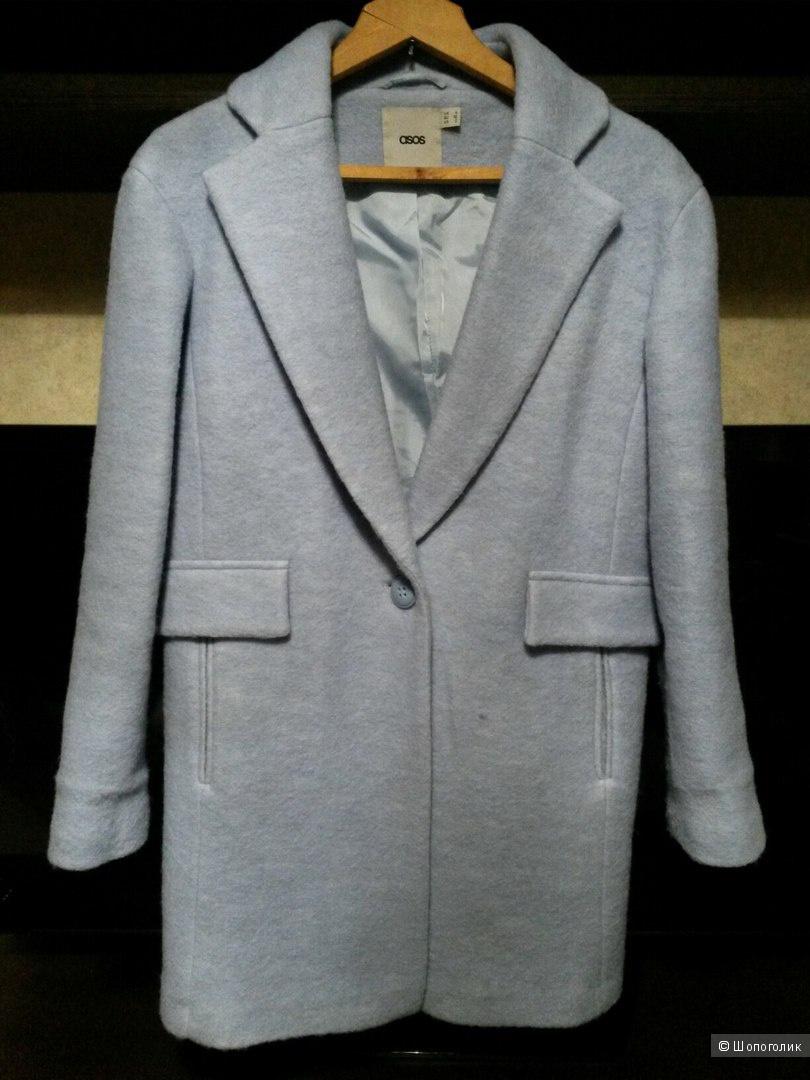 Шерстяное голубое пальто - кокон  Asos