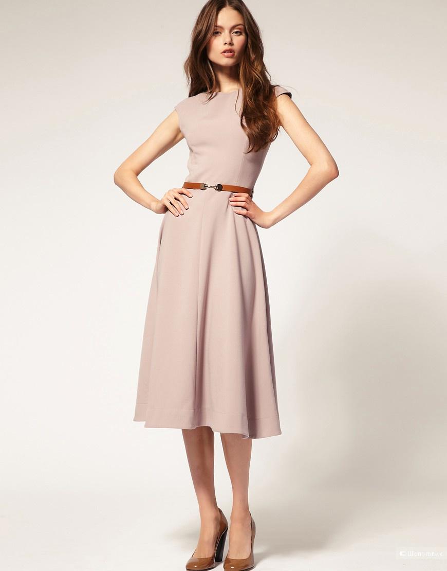 Платье миди с контрастным поясом ASOS