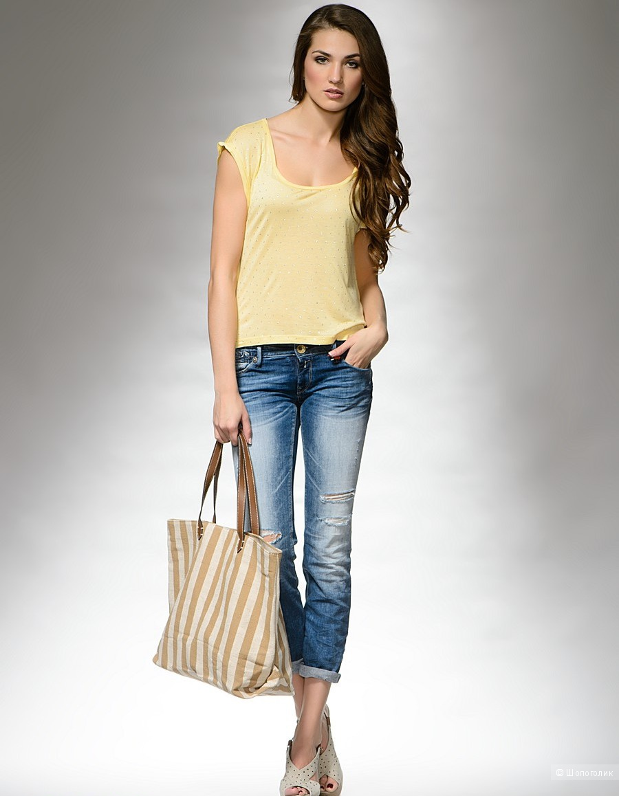 Replay жёлтая ассиметричная футболка, М