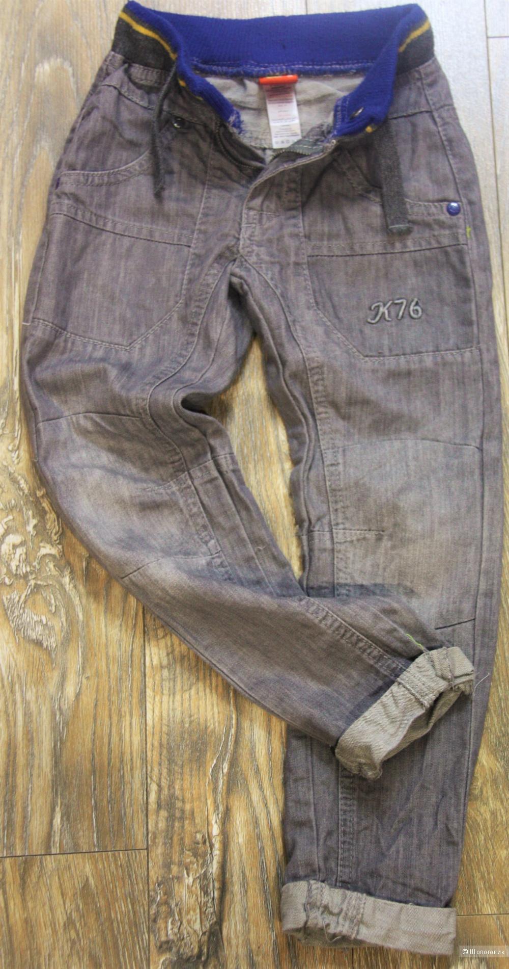 Джинсы на мальчика серого цвета 3-4 года 104-106 см