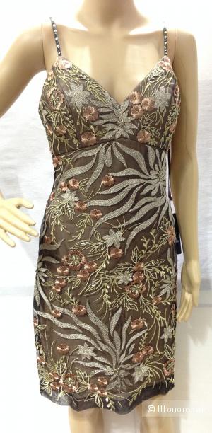 Sue Wong шикарное дизайнерское платье расшитое золотом р.44