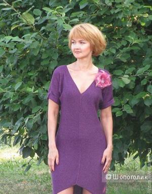Платье-туника вязаная, оригинальное