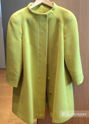Пальто из шерсти с ангорой красивого цвета лайм р.46-48