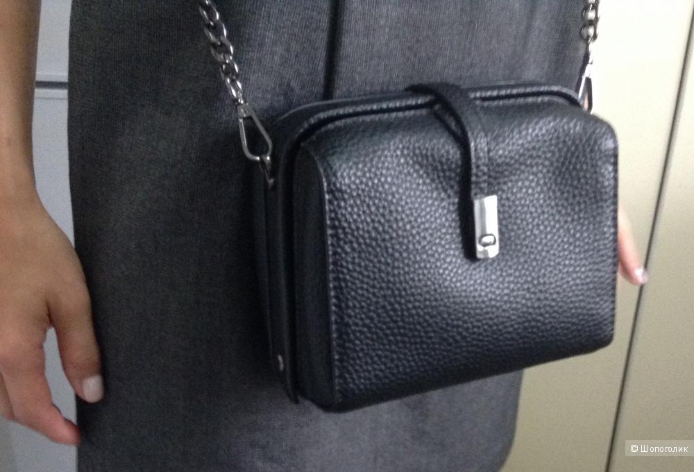Кожаная сумка кроссбоди черная на цепочке Aliexpress