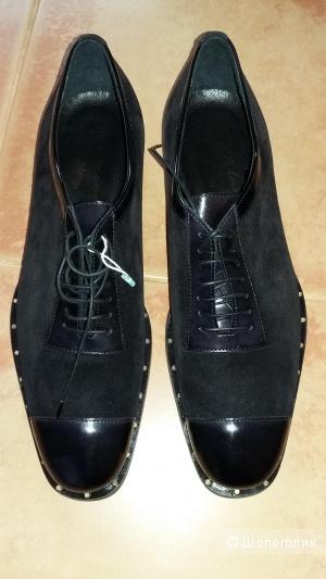 Новые туфли мужские ALBERTO MORETTI, цвет черный, размер 9 US (43 росс)