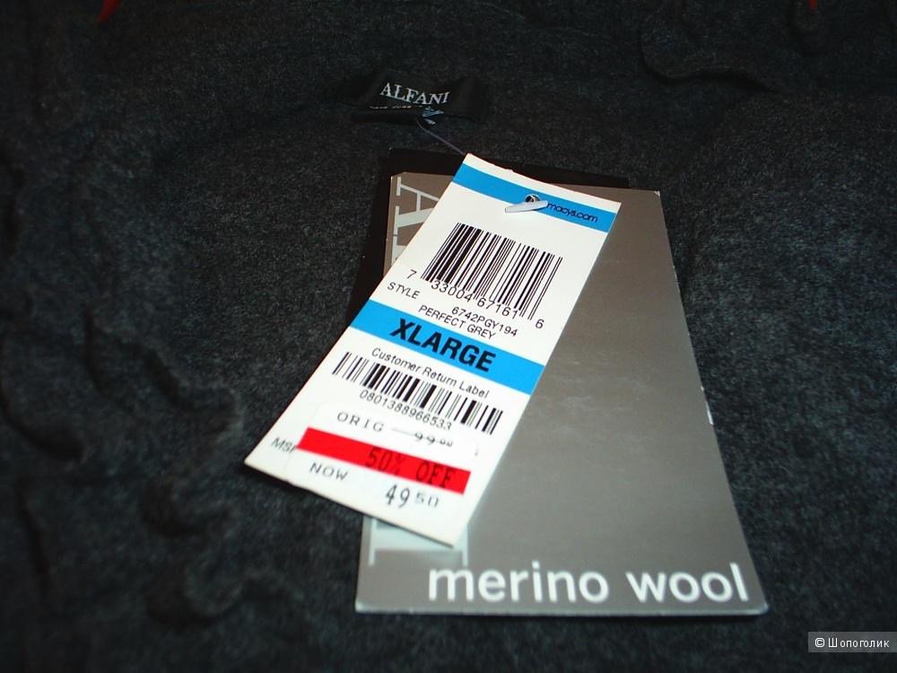 Alfani кардиган серый XL  шерсть мериноса