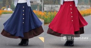 Новая длинная юбка демисезон с сайта aliexpress, хлопок, лён, в 2-х цветах.
