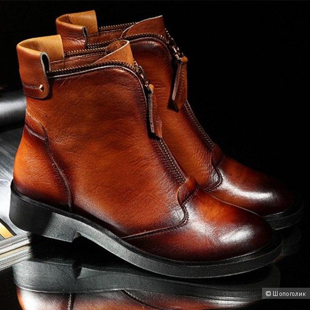 Новые кожаные женские ботинки с сайта aliexpress, очень качественные, мягкая кожа