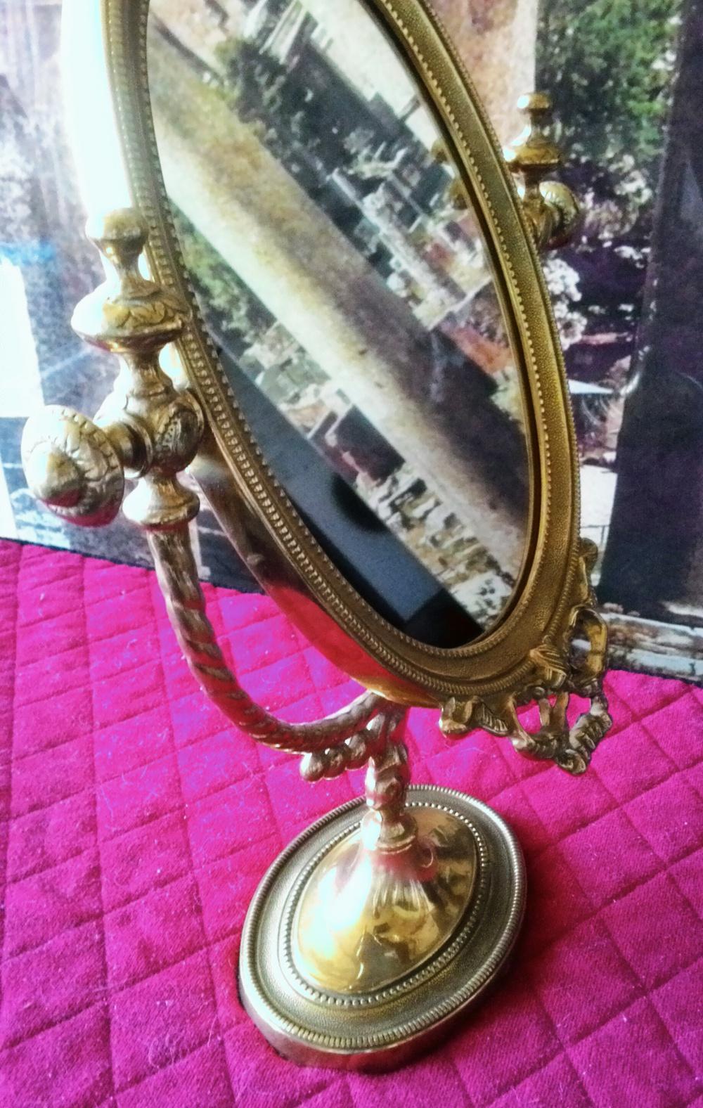 Зеркало настольное на подставке (латунь)