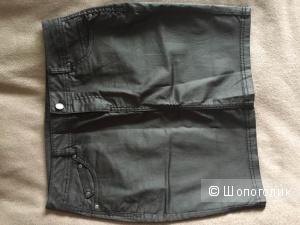 Милая черная юбочка французской марки Camaieu размер 44рос 38фр 42ит
