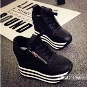 Новые кроссовки на осень-весну, чёрные с сайта aliexpress.На платформе, стильные.