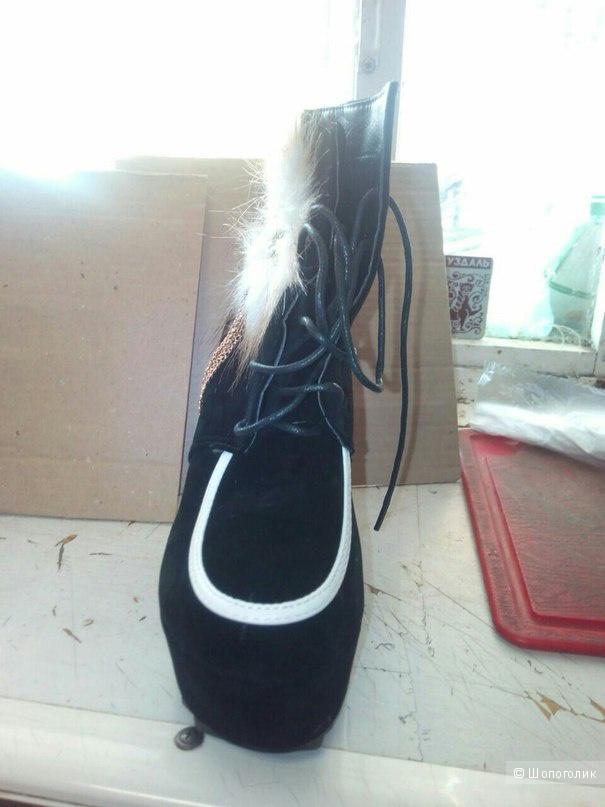 Шикарные новые полусапоги на платформе, ботинки с натуральным мехом, нубуком, горным хрусталём