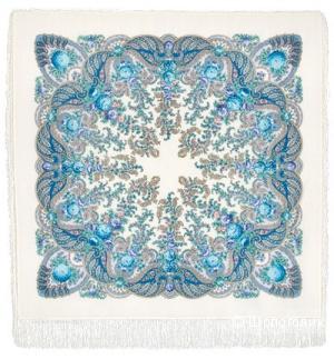 Павловопосадский платок с шелковой бахромой 125х125