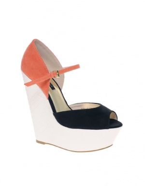 River Island Platform Wedges - Orange/black/cream / UK 4 (РУС 37)