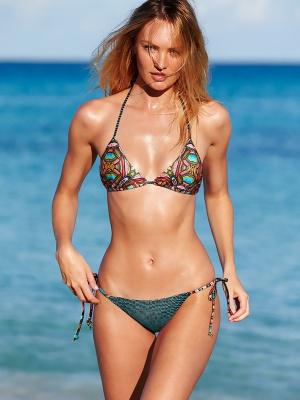 Купальник Victoria's Secret, Teeny triangle top M+Teeny Bikini Bottom M, цвет Modern Geo+Seafoam Dot