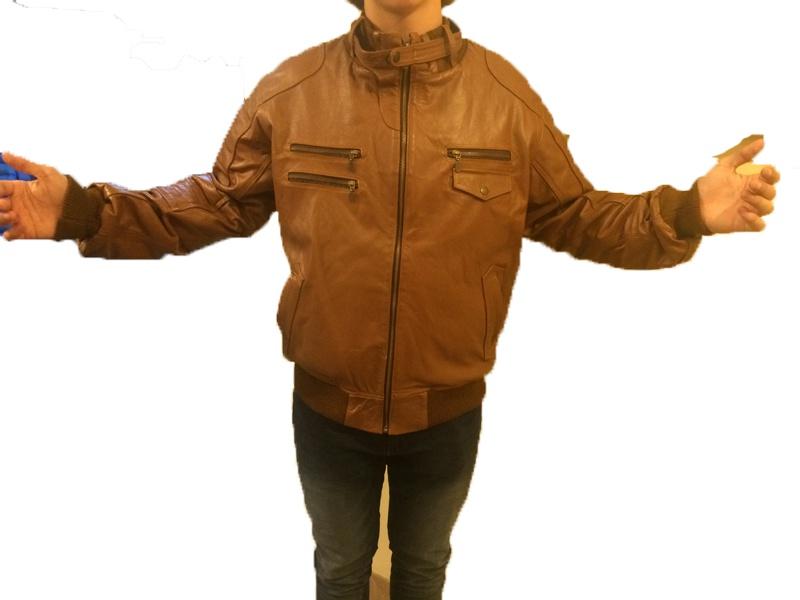 Куртка кожаная мужская новая, светло-коричневая, размер 48-50(L)