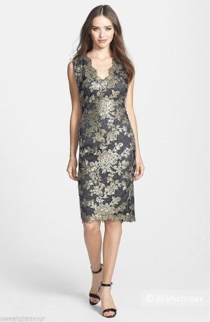Шикарное платье от Tadashi Shoji из ажурного кружева с пайетками р.44