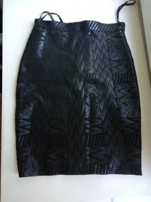 Бандажная юбка чёрного цвета с переливом