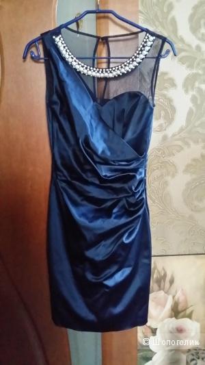 Роскошное коктейльное платье цвета сапфира 40-42 размера