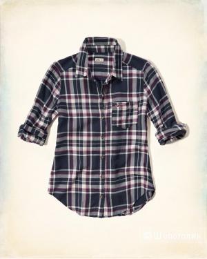 Новая женская клетчатая рубашка Hollister XS (хлопок+вискоза)