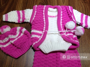 Новый детский теплый  костюм на холода из 4-х вещей 9-12 мес.