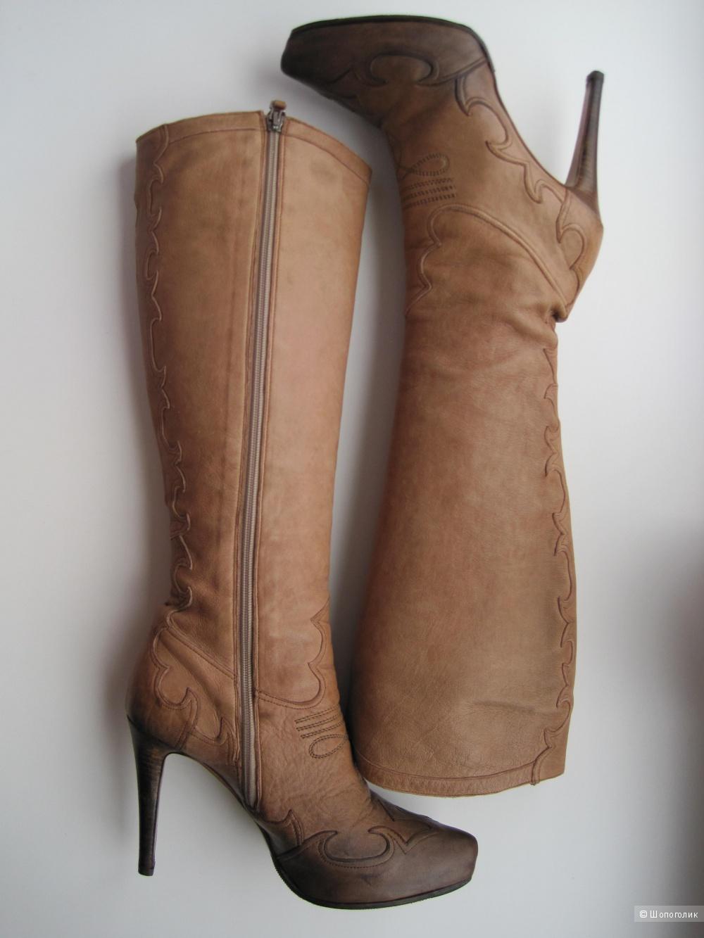 Сапоги демисезонные из натуральной кожи на высоком каблуке, итальянские, Nando Muzi