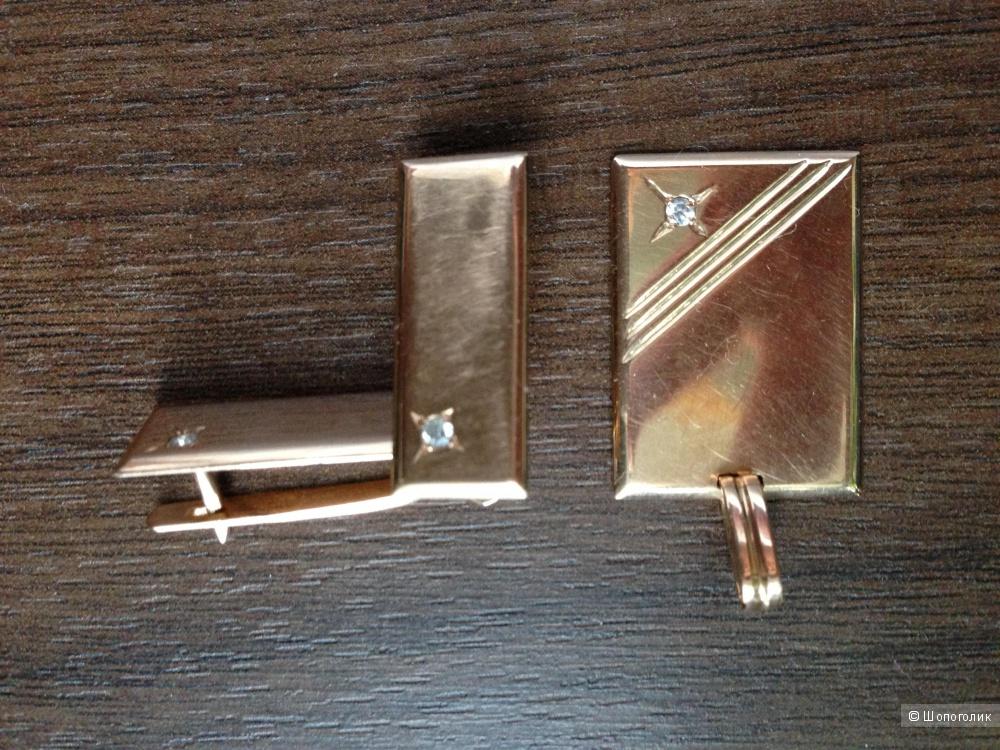 Массивный золотой комплект -золотые серьги и кулон-подвеска 583 проба в виде слитков-пластинами