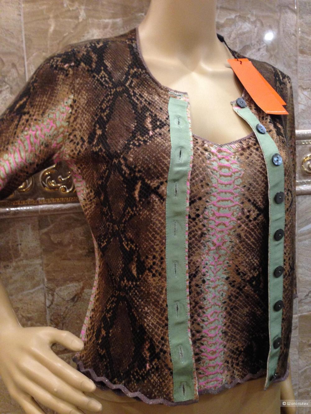 Karen Millen трикотажный костюм-двойка кофта и топ с принтом питона р.44 Новый.Оригинал
