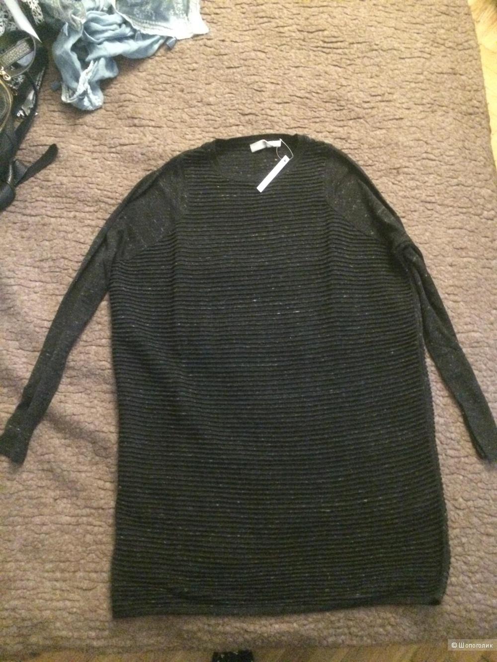 Платье свитер новое чёрное (черно-серого оттенка) размер s m)