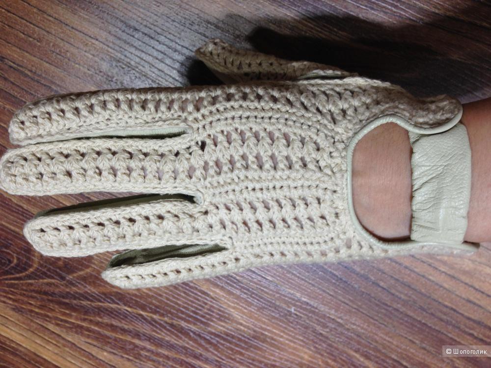 Красивые дорогие перчатки ,кожаные с трикотажным плетением COS