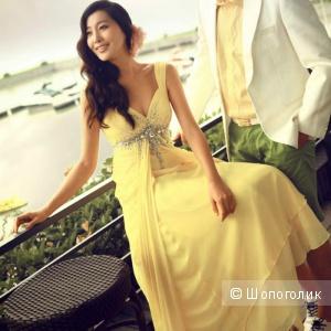Платье в пол желтое XS-S новое