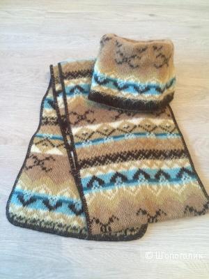 Комплект Wolliceland шапка/шарф 100% натуральная шерсть (новый) оригинал