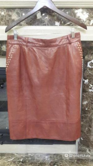 Кожаная юбка футляр оригинал Escada 42 разм. наш 48, цвет марсала