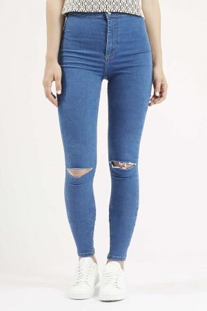 TOPSHOP PETITE MOTO Blue Ripped Joni Jeans.