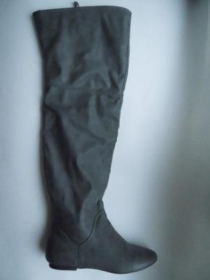 Сапоги-ботфорты серые женские Zara, 40 размер (в реальности на 38-39), весна-осень, выше колена
