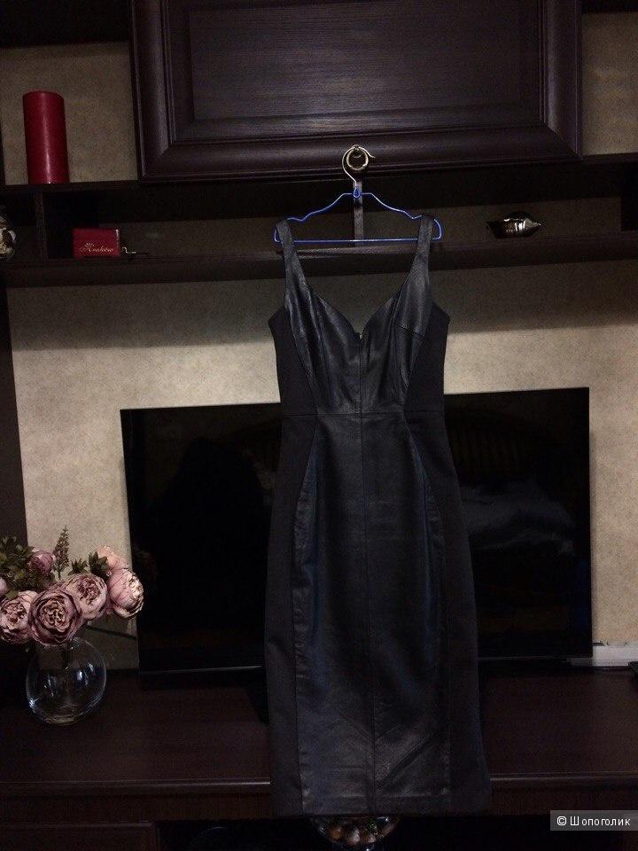 Кожаное платье миди со вставками ASOS