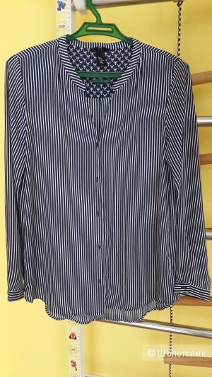 Блуза с длинным рукавом синяя в мелкую полоску H&M размер 10, росс.М