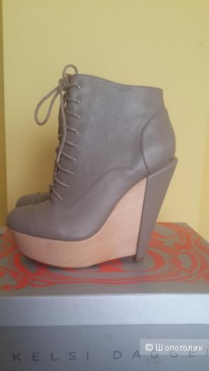 Новые кожаные ботинки, серого цвета на платформе Kelsi Dagger размер 8us