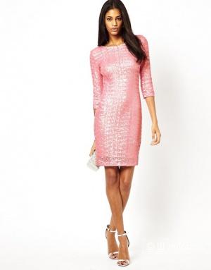 Платье розовое с пайетками TFNC, р42-44