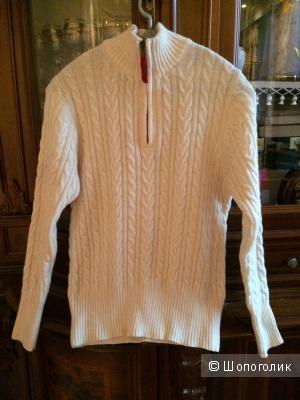 Женский свитер с косами на молнии из натуральной шерсти ягненка