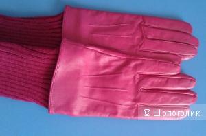 Новые КОЖАНЫЕ перчатки Pieces размер L цвет фуксия