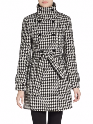 Пальто Celvin Klein DB Belted Convertible Stand Collar Wool Trench Houndstooth